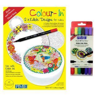 Birds Wafer disks + 6 bright edible ink pens