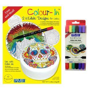 Diseños de oblea para galletas León + 6 rotuladores alimentarios de colores vivos