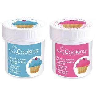 2 pots de levure colorée - rose & bleu