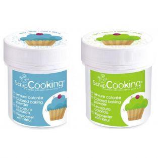 2 pots de levure colorée - vert & bleu