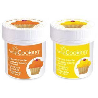 2 pots de levure colorée - jaune & orange