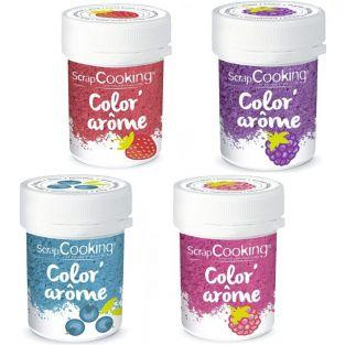 4 Food Colourings with raspberry, blackberry, strawberry & blueberry flavours