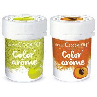 2 colorantes alimentarios con aromas de manzana y albaricoque