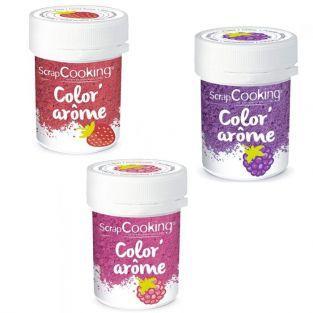 3 colorantes alimentarios con aromas de frambuesa, mora y fresa