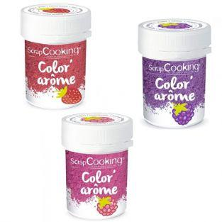 3 Food Colourings with raspberry, blackberry & strawberry flavours
