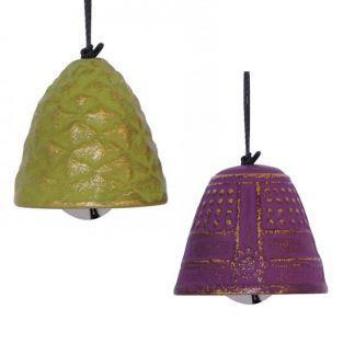 2 jouets du vent en fonte vert et violet