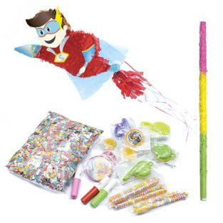 Box Piñata Super Hero and its suprises + stick