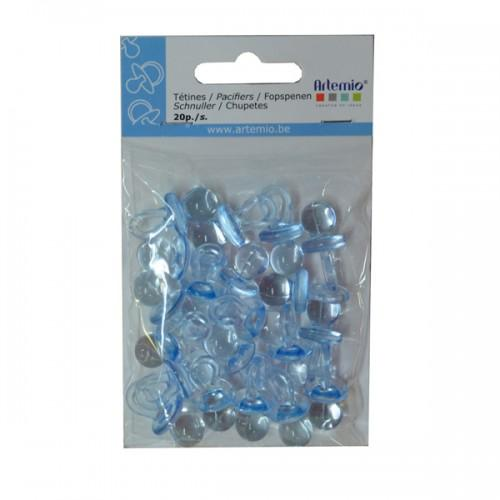 Blue plastic nipples for Babyshower