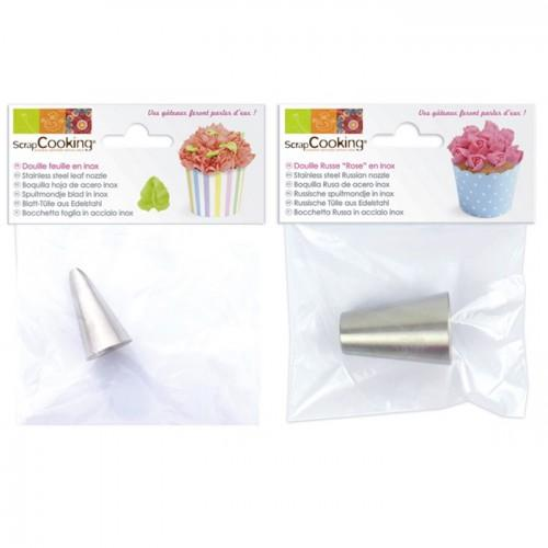 2 stainless steel nozzles - Leaf and Rose