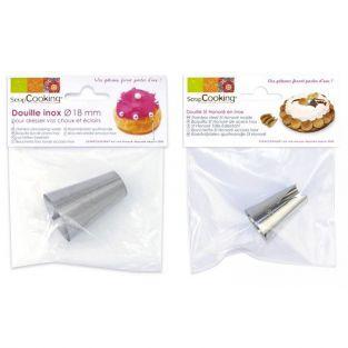 2 boquillas pasteleras de acero inox - 18 mm y St Honoré