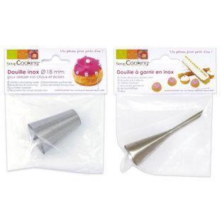 2 boquillas pasteleras de acero inox - para adornar y 18 mm