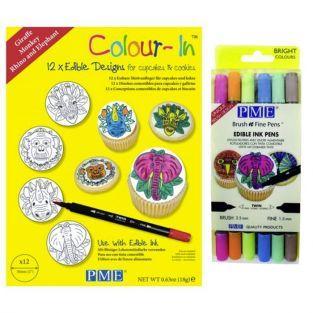 Diseños de oblea para cupcakes Animales de la Selva + 6 rotuladores alimentarios de colores claros