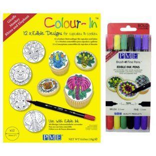 Diseños de oblea para cupcakes Animales de la Selva + 6 rotuladores alimentarios de colores vivos
