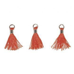 3 mini borlas con ojal 15 mm - naranja