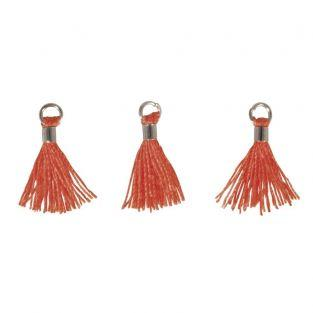 3 Mini-tassels with eyelet 15 mm - orange