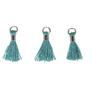 3 Mini-tassels with eyelet 15 mm - teal