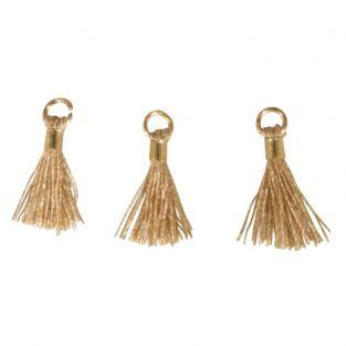 3 Mini-tassels with eyelet 15 mm - beige