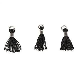 3 Mini-tassels with eyelet 15 mm - black