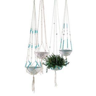 Macrame DIY Kit hanging Basket - blue
