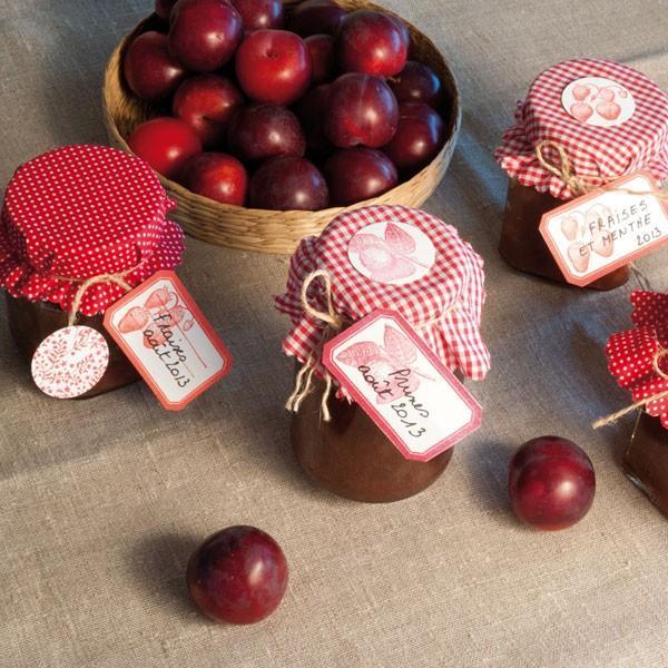 Kit de d coration pour pots de confiture rouge for Decoration pot de confiture