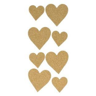 Cork Stickers x 8 - Hearts