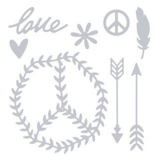 Matrice de d?coupe pour Sizzix - Peace & Love