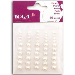 50 perles adhésives naturelles