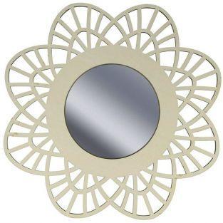 Miroir contour bois ? d?corer 28 cm - Dentelle