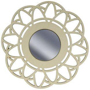 Miroir contour bois ? d?corer 20 cm - Fleur