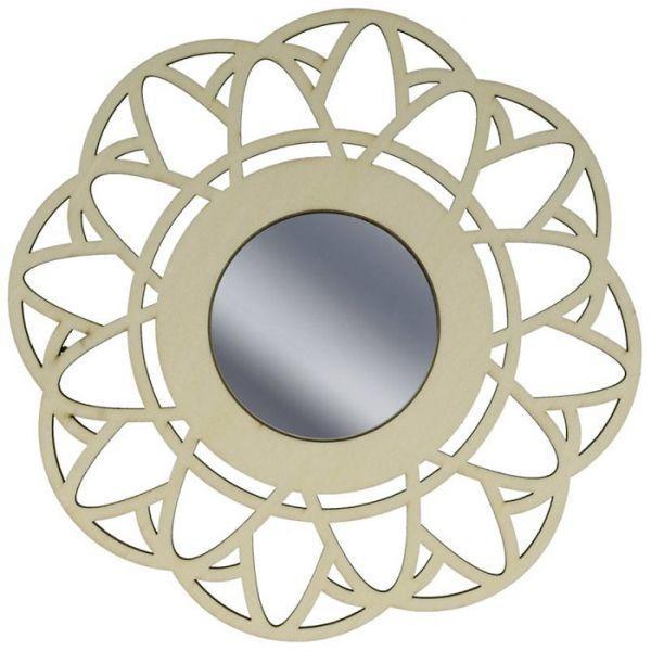 miroir contour bois d corer 20 cm fleur youdoit. Black Bedroom Furniture Sets. Home Design Ideas