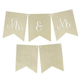 Banderas de madera para boda - Mrs & Mr