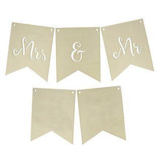 Fanions en bois mariage - Mrs & Mr