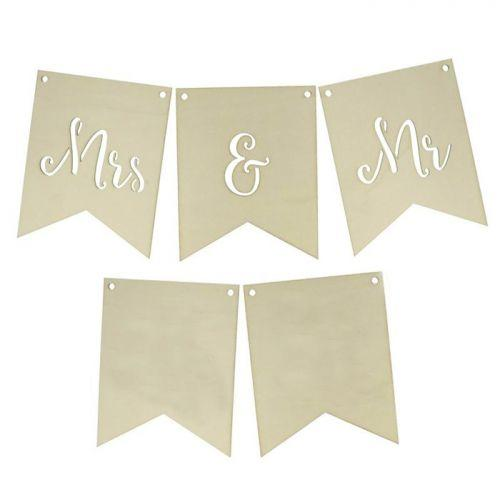 Wooden wedding flags - Mrs & Mr