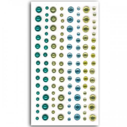 120 perles bleu-vert