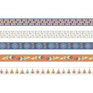 5 Masking tapes 5 m x 1,5 cm - Totem Indians