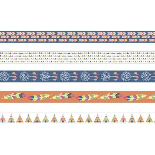 5 Masking tapes 5 m x 1,5 cm - Totem Indiens