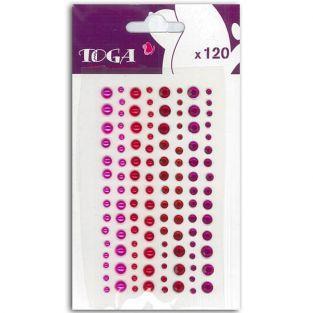 120 perles fuschia-rouge