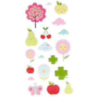 Pegatinas en relieve - Frutas adorables