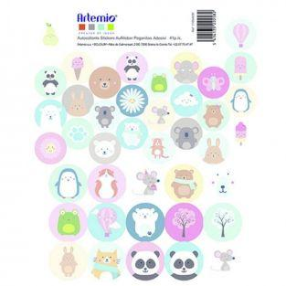 41 round birth stickers - Adorable Animals
