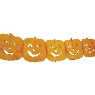 Pumpkin garland in paper for Halloween - 3 meters