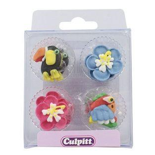 12 sugar decorations Culpitt - tropical