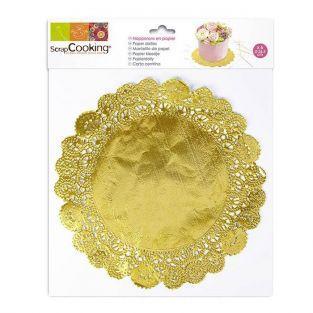 6 gold paper doilies ? 26,5 cm