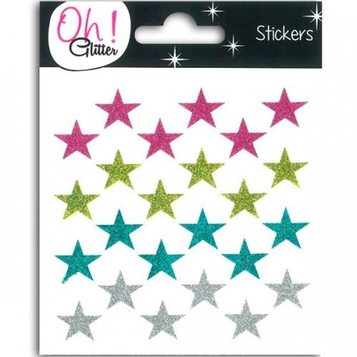 Stickers étoiles à paillettes - multicolores