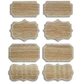 8 etiquetas barrocas imitación de madera