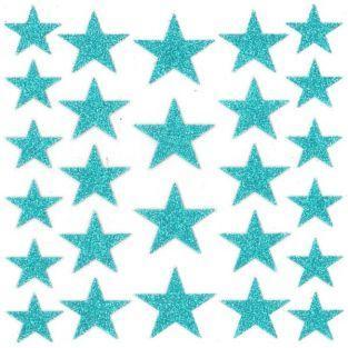 Stickers étoiles à paillettes - turquoise