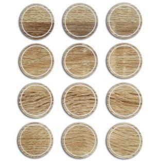 12 etiquetas redondas imitación de madera