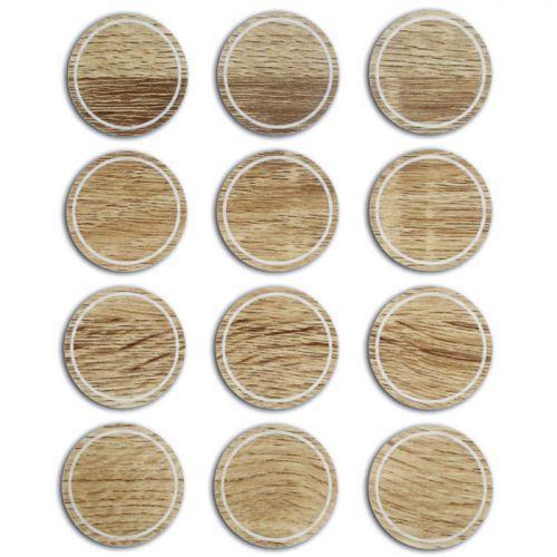 12 étiquettes rondes imitation bois