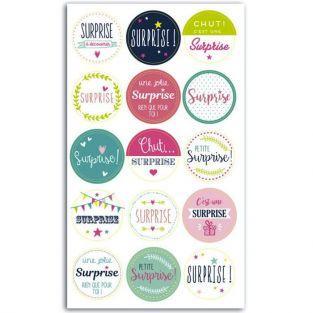 15 pegatinas redondas para regalos - Surprise (en francés)