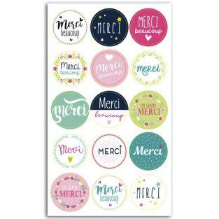 15 Merci sticky pads for gift wrapping