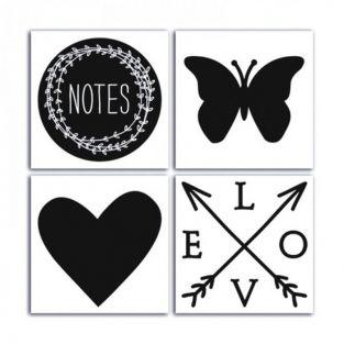 4 Lovely Flowers black stickers 10 cm x 10 cm